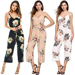 [PO] Women Floral Jumpsuit Romper with belt