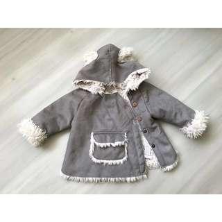 Zara Mini Sheepskin Grey Hooded Coat / Jacket