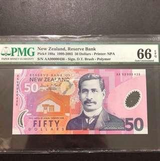 新西蘭元$50紙幣AA99000436pmg評分66e