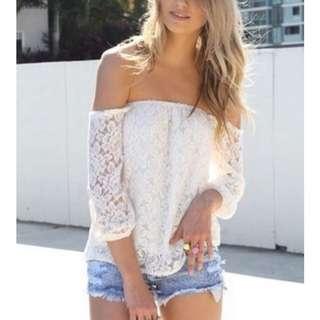 Off Shoulder White Lace Top