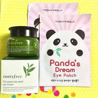 green tea seed eyecream + panda dream eye patch
