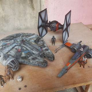 Star Wars painted display quality Millennium Falcon, Tie Fighter, X Wing