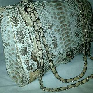 Phyton leather bag with chain strap