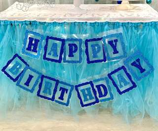 Rental of tutu table skirting, Sparkly Birthday Bunting, Dessert Table Trays and many more!