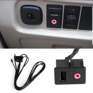 Brand New Car 3.5mm USB AUX Headphone Male Jack Flush Mount Mounting Adapter Panel Input