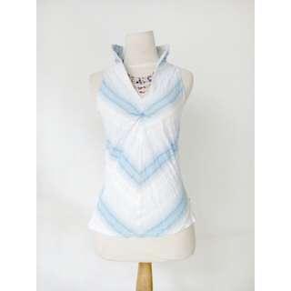 (50rb) Top cotton blue white, LD82-86,Pjg56cm