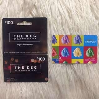 KEG gift card with FREE Cineplex movie