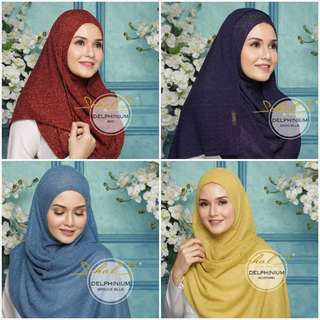 In Stock: Delphinium SCHALS Knitted Semi-Instant Shawl