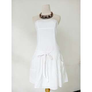 (55rb) Dress kemben white, bhn cotton, LD80-90, pjg68, waist88cm