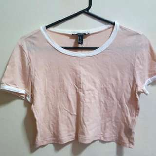 Forever 21 Peachy Ringer Cropped Tee