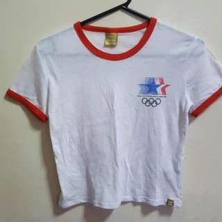 Cotton On Olympic Ringer Cropped Tee