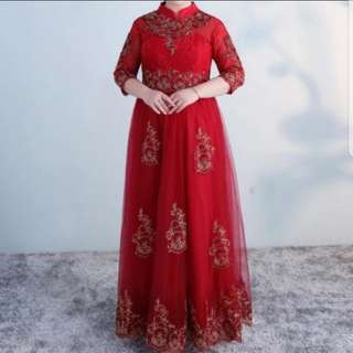 Plus size red qipao cheongsam dress / evening gown