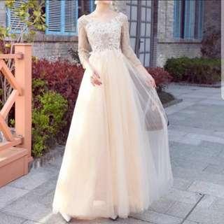 plus size champaign sequin dress / evening gown / wedding gown