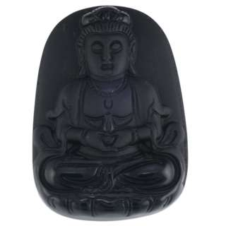 Goddess of Mercy Obsidian Amulet
