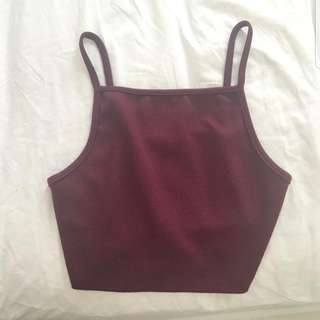 Burgundy High Neck Halter Top (Negotiations Are Welcome)