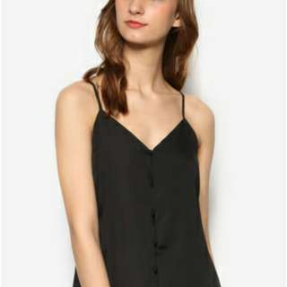 Zalora Love Button Front Cami - black XL