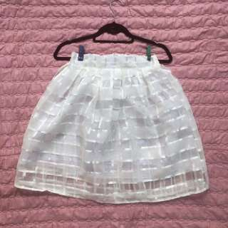 White Skirt (Semi See Through, Checkered)