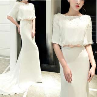 White v shape design dress / evening gown