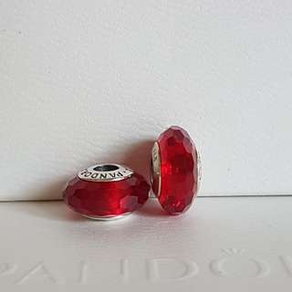 Pandora red faceted murano