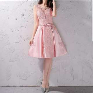 Plus size keyhole design Pink Dress / evening gown