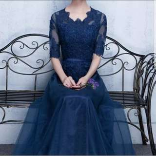 (plus size avail) navy 3/4 sleeve dress / evening gown