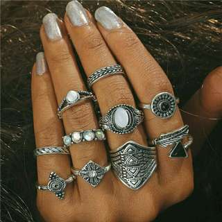 10pcs Curved Knuckle Midi  Stacking Ring set