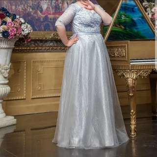 Plus size sliver embroidery dress / evening gown