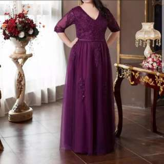 Plus size purple embroidery dress / evening gown