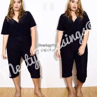 Plus Size - Overlapping Culottes Black - XL/2XL
