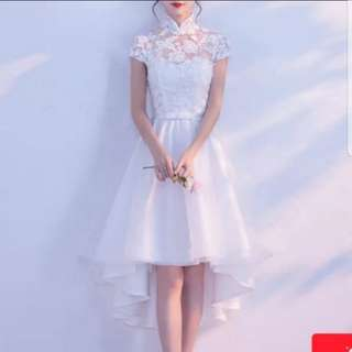 (plus size avail) white qipao cheongsam design high low dress / evening gown
