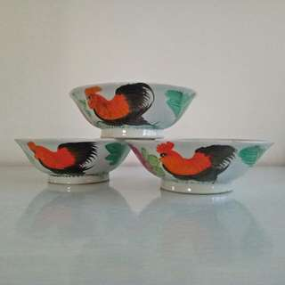 Older 50s Cock Soup Bowl hand painted height 6cm diameter 17cm perfect condition 3pieces $40