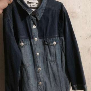 Denim polo long sleeves