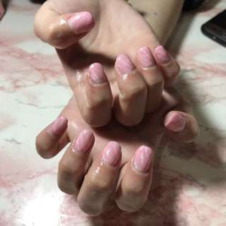 Gel Manicure, Pink marble
