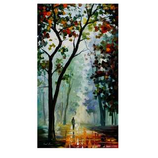 oil paintings-raining road