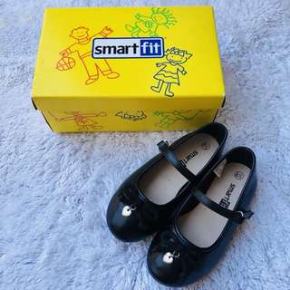 Smart fit black school doll shoes 2-3yo