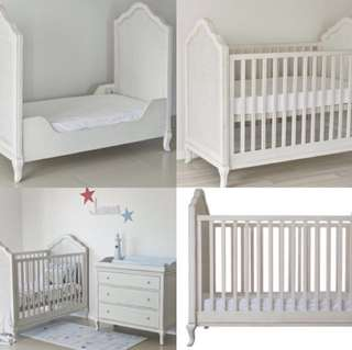 Baby Cot / Toddler Bed with Draws / Change Table & Bookshelf