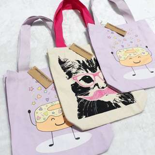 US Makerwear Tote Bag Cream/Pink and Purple (Set of 3)