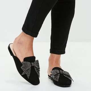 Black bow slip on mule - Size 8
