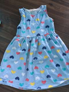 kids Girl Dress heart shape printed