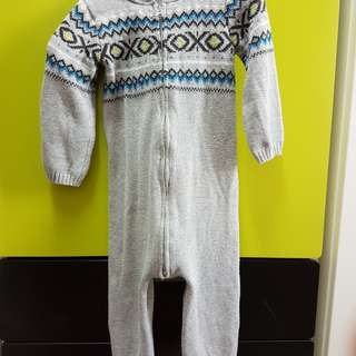 Knitted overall with hoodie