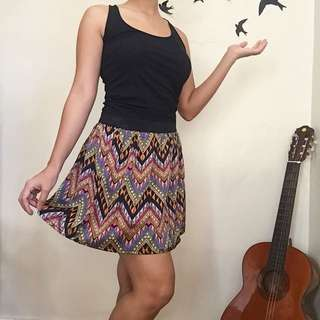 Tribal Pattern Garterized Skirt