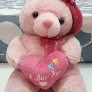 Pink tedy bear 'i miss you'