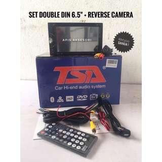 PROMOSI set COMBO Double din player dan Reverse Camera