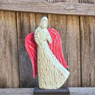 Large Wooden Hand Carved Painted Decorative Angel Statue