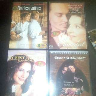 All 4 set plus 1 ROMANCE COMESY ORIG DVD SET - MY BEST FRIENDS WEDDING, CHOCOLAT , LIKE WATER FOR CHOCOLATE, NO RESERVATIONS