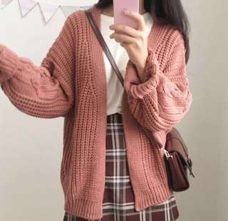 Rose Pink Knit Sweater cardigan jacket outerwear