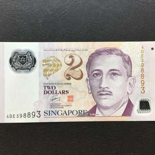 Radar 398893 Singapore Polymer Portrait $2 Note