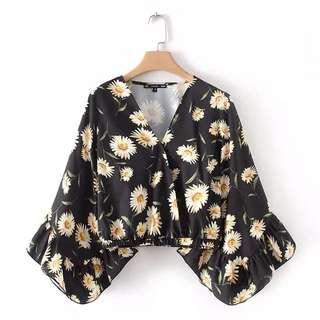 🔥Europe Spring New Style Flower Printing Short Bi Shirt Top
