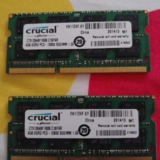 2pcs Crucial 4GB DDR3-1600 PC3-12800 SODIMM for Laptop