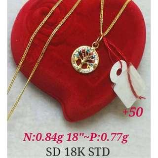 MONEY TREE 18K SAUDI GOLD NECKLACE & PENDANT ,